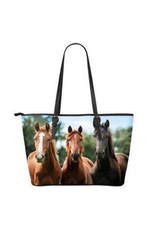 Lavender Three Happy Horses Faux Leather Tote Bag