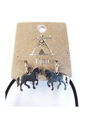 Aztec Blanket Horse Necklace and Earrings Set-Jewelry-Three Wild Horses-Three Wild Horses