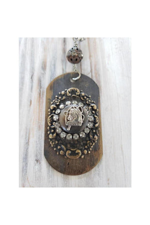 Horse Themed Necklace Dog Tag Vintage Style-Jewelry-Three Wild Horses-Three Wild Horses
