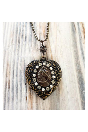 Horse head vintage locket necklace-Jewelry-Three Wild Horses-Three Wild Horses