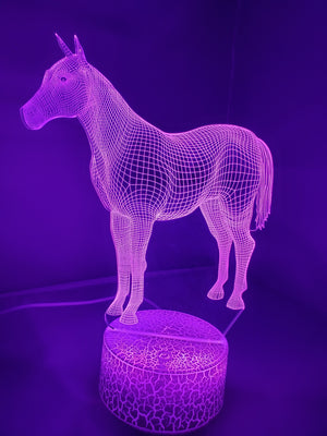 Dark Orchid 3D Classic Horse Nightlight changes to 7 colors -ON SALE!