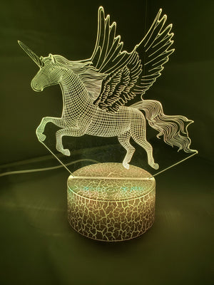 Dark Khaki 3D Pegasus Horse Nightlight 7 colors - ON SALE!