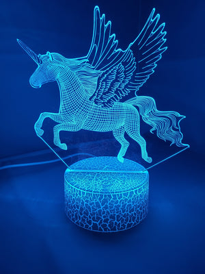 Dodger Blue 3D Pegasus Horse Nightlight 7 colors - ON SALE!