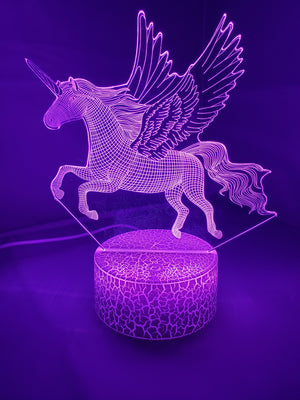Medium Orchid 3D Pegasus Horse Nightlight 7 colors - ON SALE!