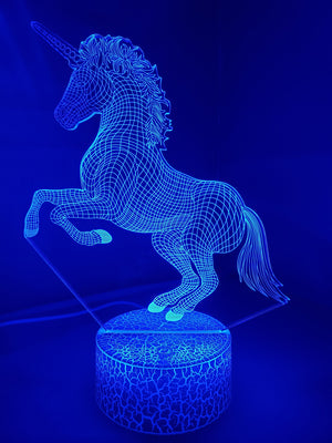 Royal Blue 3D Unicorn Nightlight changes to 7 colors - ON SALE!