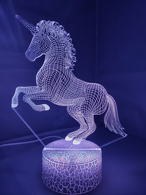 Light Slate Gray 3D Unicorn Nightlight changes to 7 colors - ON SALE!