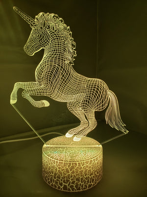 Olive Drab 3D Unicorn Nightlight changes to 7 colors - ON SALE!