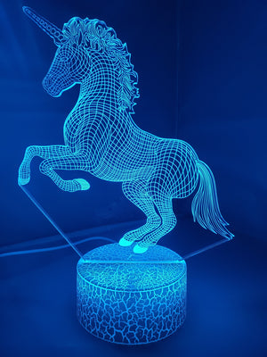 Steel Blue 3D Unicorn Nightlight changes to 7 colors - ON SALE!