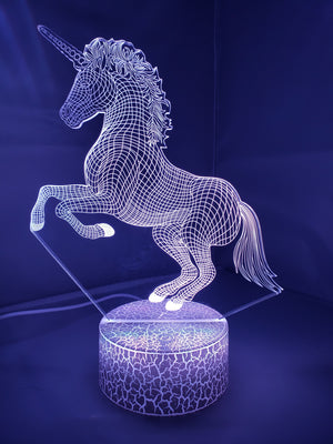 Light Slate Gray 3D Unicorn Nightlight changes to 7 colors -ON SALE!