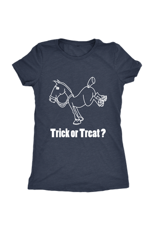 Trick Or Treat? - Tops-Tops-teelaunch-Ladies Triblend-Navy-S-Three Wild Horses