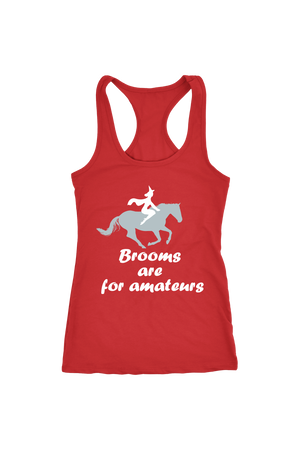 Brooms Are For Amateurs - Tops-Tops-teelaunch-Racerback Tank-Red-S-Three Wild Horses