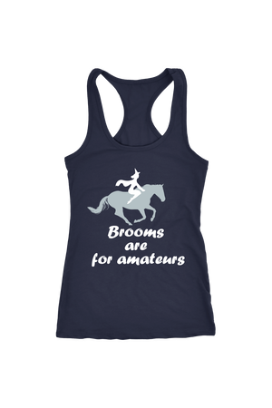 Brooms Are For Amateurs - Tops-Tops-teelaunch-Racerback Tank-Navy-S-Three Wild Horses