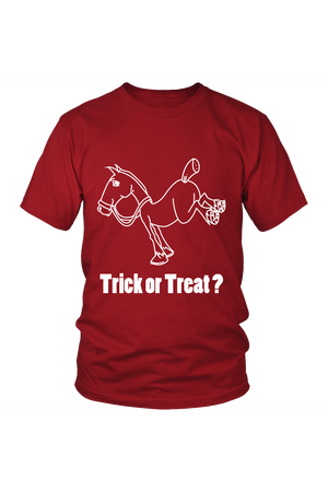 Trick Or Treat? - Tops-Tops-teelaunch-Unisex Tee-Red-S-Three Wild Horses
