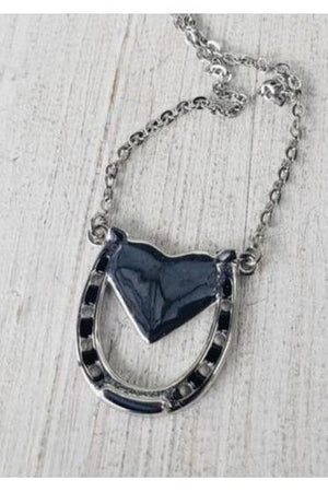 Dark Slate Gray Capture my Heart Necklace in Silver