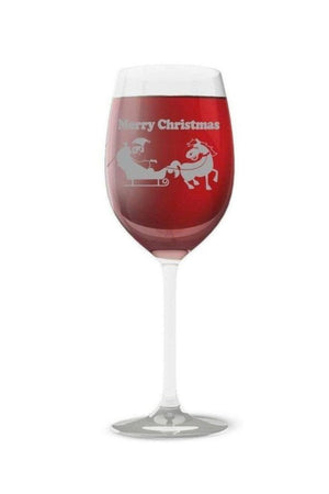 Merry Christmas - Wine glass-Drinkware-Printex-1 Glass-Three Wild Horses