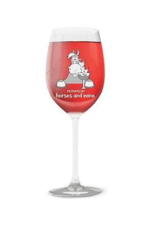 Motivated by Horses and Wine - Wine Glass-Drinkware-Printex-1 Glass-Three Wild Horses