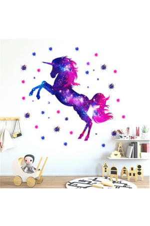 Midnight Blue Unicorn & Stars Wall Sticker Decal