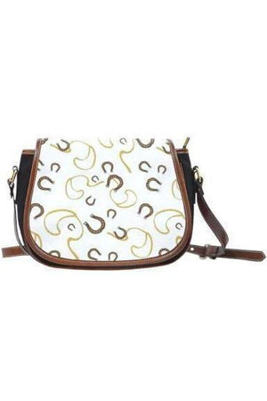 Horse themed Canvas/PU Leather Saddle Bag Handbag-Saddle Bag-Pillow Profits-2-Three Wild Horses