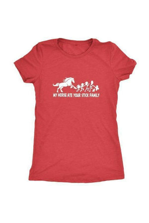 My Horse Ate Your Stick Family - Tops-Tops-teelaunch-Ladies Triblend-Red-S-Three Wild Horses