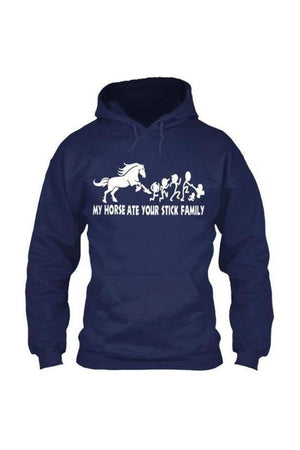 My Horse Ate Your Stick Family - Long Sleeve-Long Sleeve-Teescape-HOODIE-Navy-S-Three Wild Horses