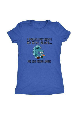 She Also Needs a Horse - Tops-Tops-teelaunch-Ladies Triblend-Royal Blue-S-Three Wild Horses