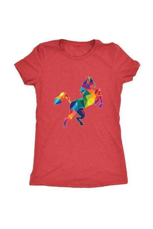 Horsing Around - Tops-Tops-teelaunch-Ladies Triblend-Red-S-Three Wild Horses