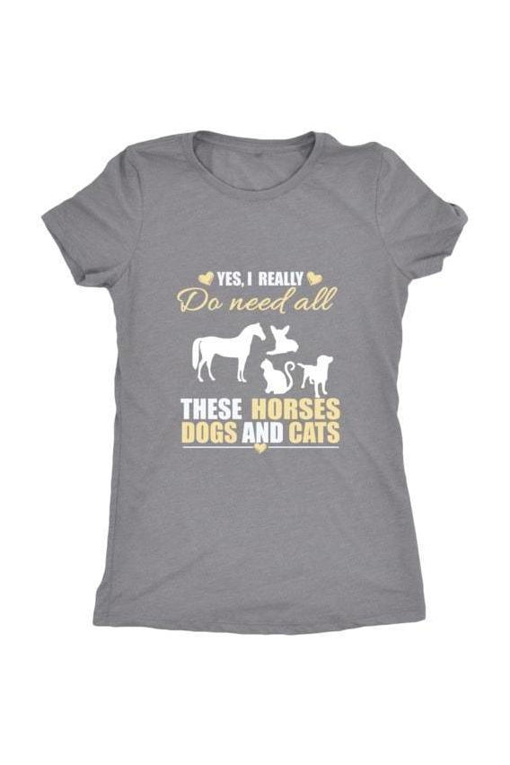 Yes, I really do need all these horses, dogs & cats - Tops-Tops-teelaunch-Ladies Triblend-Grey-S-Three Wild Horses