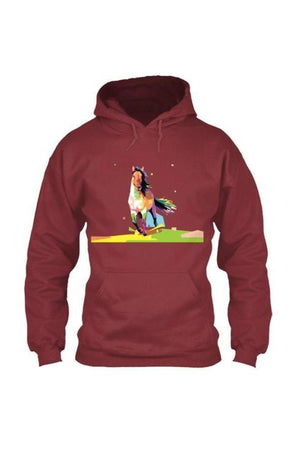 Running Around - Long Sleeve-Long Sleeve-Teescape-HOODIE-Cardinal Red-S-Three Wild Horses
