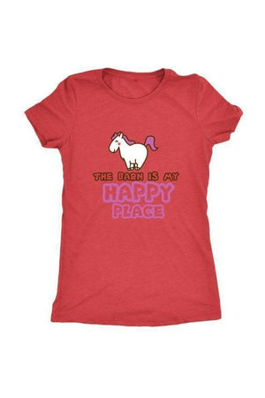 The Barn Is My Happy Place - Tops-Tops-teelaunch-Ladies Triblend-Red-S-Three Wild Horses
