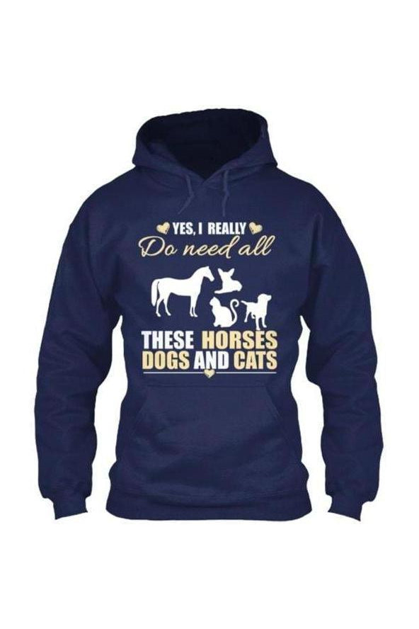 Yes, I really do need all these horses, dogs & cats - Long sleeve-Long Sleeve-Teescape-HOODIE-Navy-S-Three Wild Horses