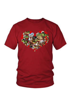 Heart Shape Horses - Tops-Tops-teelaunch-Unisex Tee-Red-S-Three Wild Horses