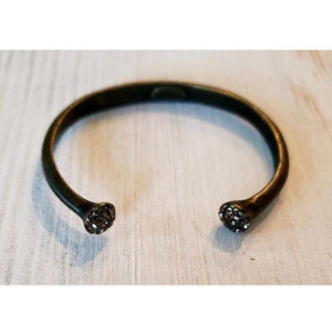 Rebel Designs Bangle Bracelet w/ Crystal Tips, Black Diamond-Bracelet-Rebel Designs-Three Wild Horses