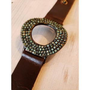 Rebel Designs Wide Circle Bracelet - African Turquoise-Bracelet-Rebel Designs-Three Wild Horses