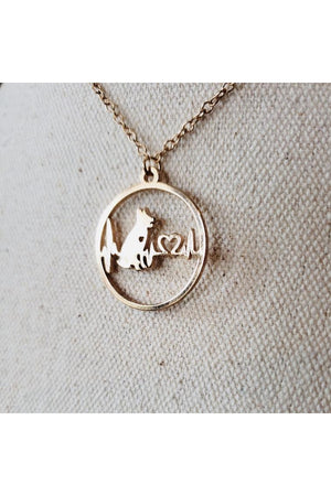 Seashell Love My Dog Metal Necklace