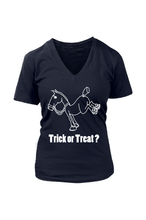Trick Or Treat? - Tops-Tops-teelaunch-Womens V-Neck-Navy-S-Three Wild Horses