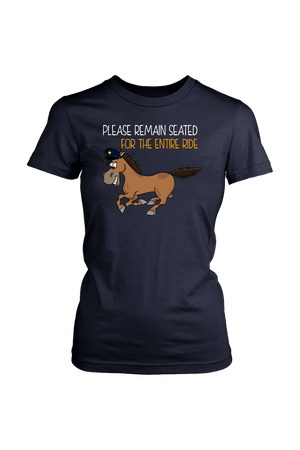 Replacement Tee - Please Remain Seated-Tops-teelaunch-District Womens Tee-Navy-S-Three Wild Horses