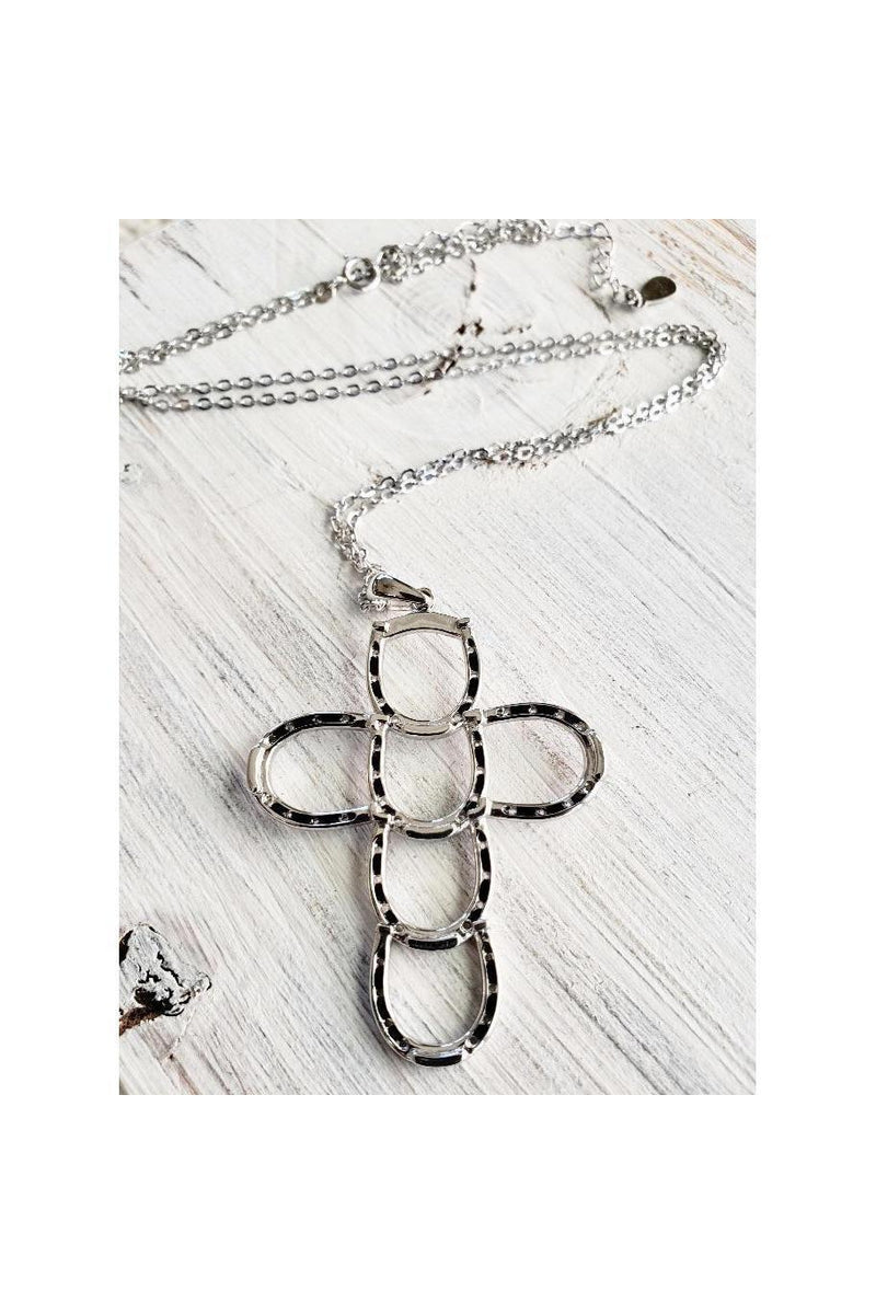 Silver Horseshoe Cross Necklace