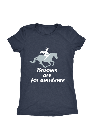 Brooms Are For Amateurs - Tops-Tops-teelaunch-Ladies Triblend-Navy-S-Three Wild Horses