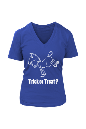 Trick Or Treat? - Tops-Tops-teelaunch-Womens V-Neck-Royal Blue-S-Three Wild Horses