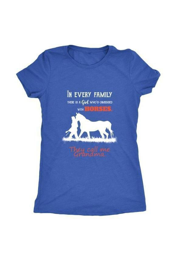 They Call Me Grandma - Tops-Tops-teelaunch-Ladies Triblend-Royal Blue-S-Three Wild Horses