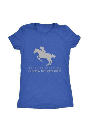 I Never Outgrew the Horse Phase - Tops-Tops-teelaunch-Ladies Triblend-Royal Blue-S-Three Wild Horses