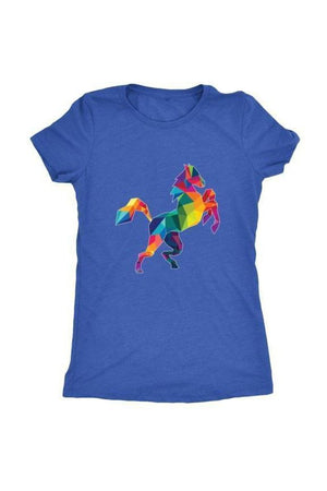 Horsing Around - Tops-Tops-teelaunch-Ladies Triblend-Royal Blue-S-Three Wild Horses