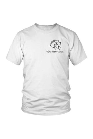Three Wild Horses - White and Grey Tops-Tops-teelaunch-Unisex Tee-White-S-Three Wild Horses