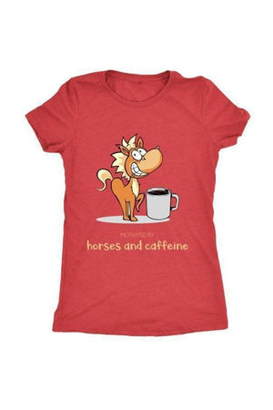Horses and Caffeine - Tops-Tops-teelaunch-Ladies Triblend-Red-S-Three Wild Horses