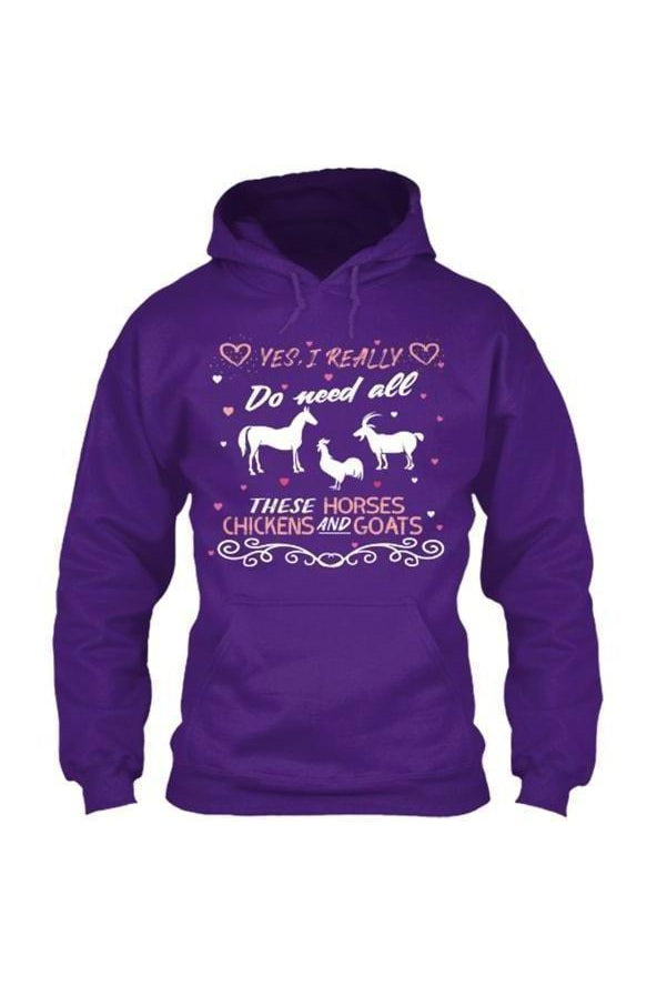 Yes, I really do need all these horses, chickens and goats - Long Sleeve-Long Sleeve-Teescape-HOODIE-Purple-S-Three Wild Horses