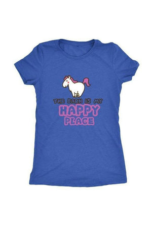 The Barn Is My Happy Place - Tops-Tops-teelaunch-Ladies Triblend-Royal Blue-S-Three Wild Horses