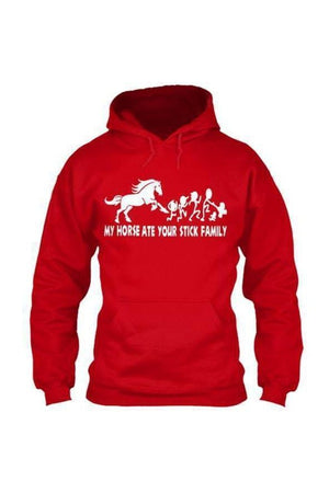 My Horse Ate Your Stick Family - Long Sleeve-Long Sleeve-Teescape-HOODIE-Red-S-Three Wild Horses