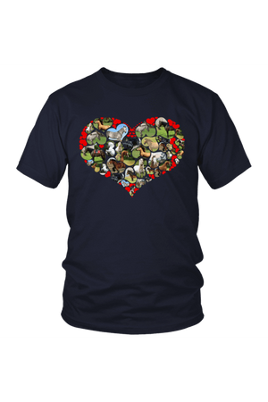 Heart Shape Horses - Tops-Tops-teelaunch-Unisex Tee-Navy-S-Three Wild Horses