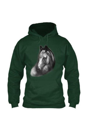Horse Portrait - Long Sleeve-Long Sleeve-Teescape-HOODIE-Forest Green-S-Three Wild Horses