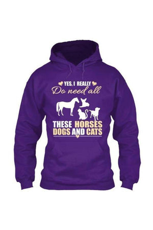 Yes, I really do need all these horses, dogs & cats - Long sleeve-Long Sleeve-Teescape-HOODIE-Purple-S-Three Wild Horses